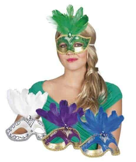 Masque loup venitien avec plumes assorties aux 4 coloris