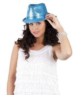 Chapeau disco bleu paillettes