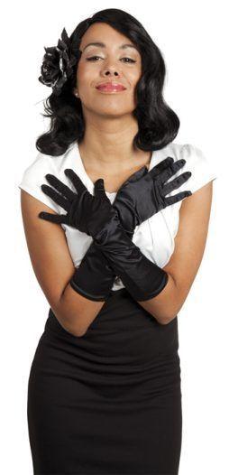 Paire de gants longs en satin noir