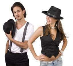 Chapeau de gangster en feutrine noir, ruban noir