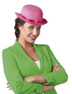 Chapeau melon couleur rose en satin