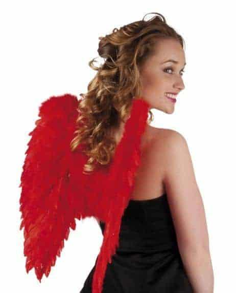 Ailes d'ange rouge en plumes 50/50 cm
