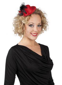 mini chapeau rouge plume noire