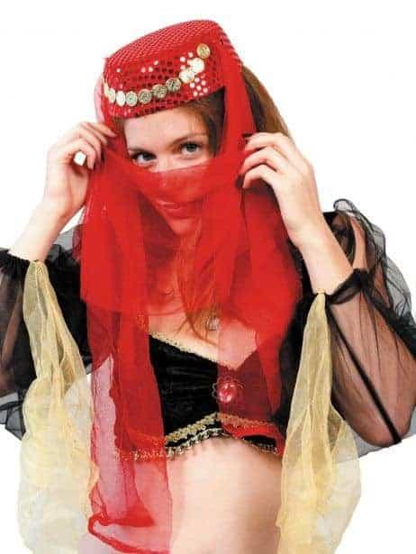 Coiffe rouge à paillettes danseuse orientale