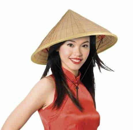 Grand chapeau chinois en paille