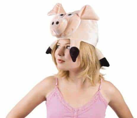 chapeau tete de cochon rose