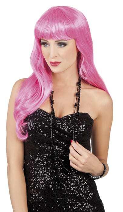 Perruque longue cheveux roses