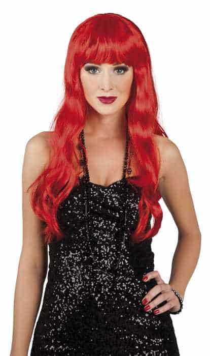 Perruque longue cheveux rouges