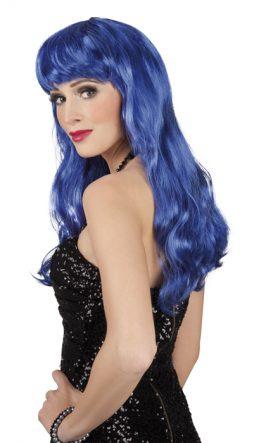 Perruque bleue cheveux longs