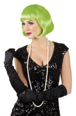 Perruque de cabaret coupe courte vert fluo