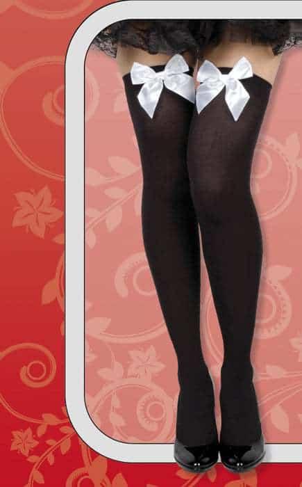 bas noirs avec noeuds blancs pour femme sexy