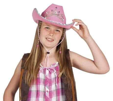 Chapeau cowboy rose pour fille