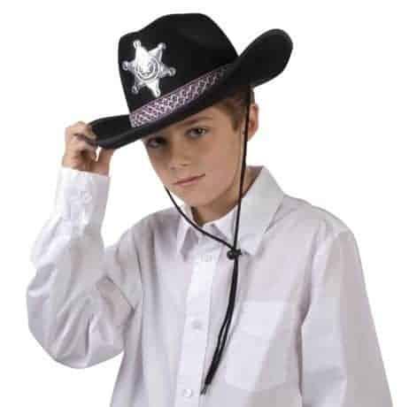 Chapeau de sherif couleur noire pour garcon