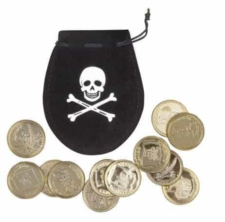 BOURSE DE PIRATE + PIÈCES (Bourse + pièces d'or)