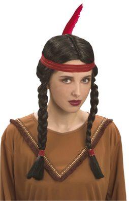 perruque squaw indienne plume et bandeau rouge
