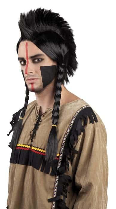 Perruque d'Indien avec tresses et crete