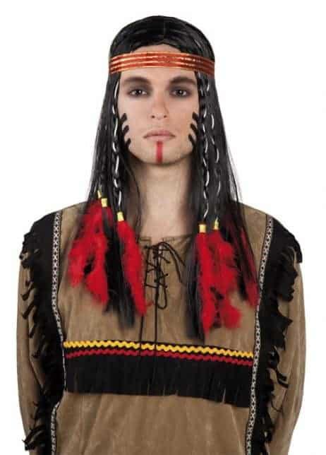 Perruque apache couleur noire avec bandeau rouge et tresses