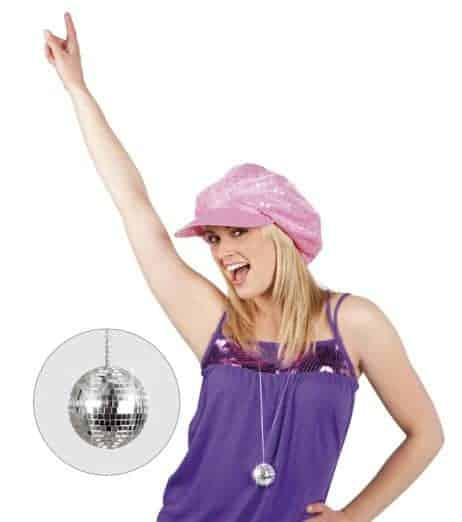 Collier avec boule disco a facette