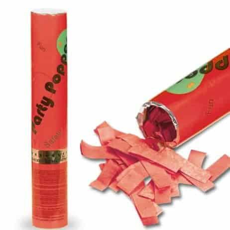 Canon lance confettis rouges 30 cm en papier