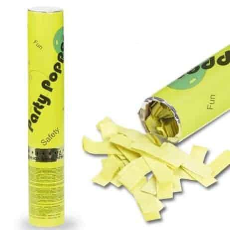 Lance confettis papier 30 cm de couleur jaune