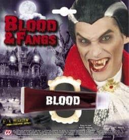 Dentier de vampire avec tube de sang