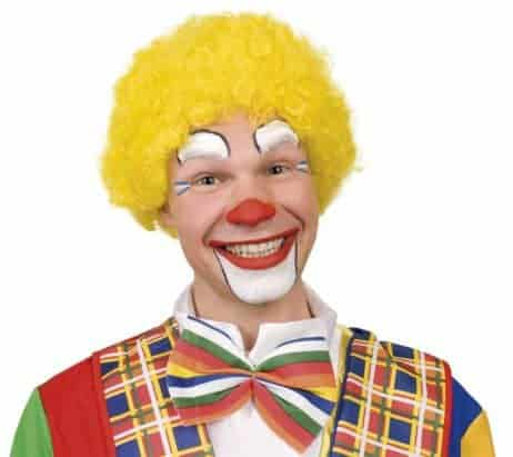 Perruque jaune de clown adulte