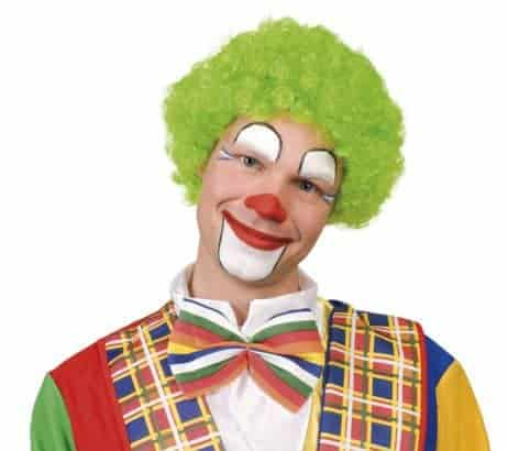 Perruque vert fluo bouclee clown