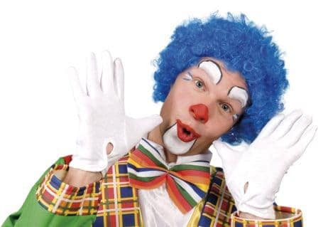 Perruque de clown couleur bleue