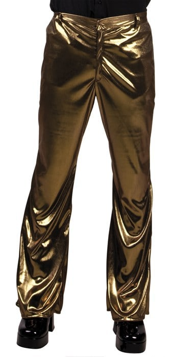 Pantalon brillant couleur or disco