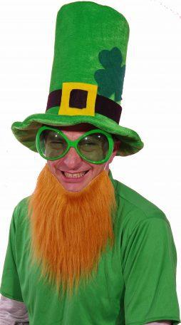 Chapeau St Patrick et barbe rousse
