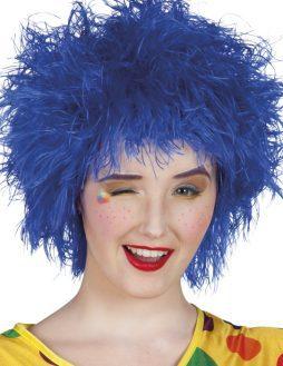 Perruque bleue frisee clown femme