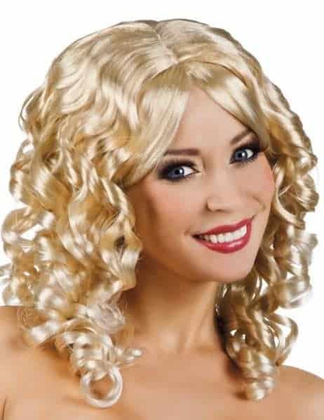 PERRUQUE SCARLETTE (Cheveux blonds bouclés)