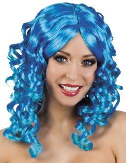 perruque cheveux bouclés bleus