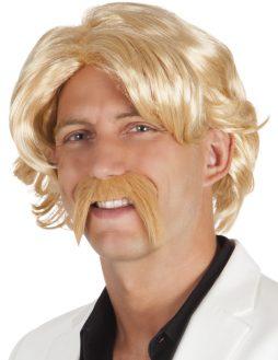 Kit perruque et moustache homme blond