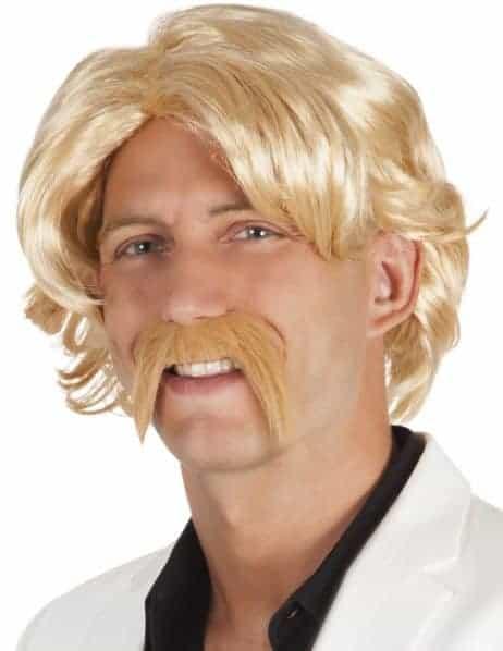 PERRUQUE + MOUSTACHE (Perruque Homme blond)