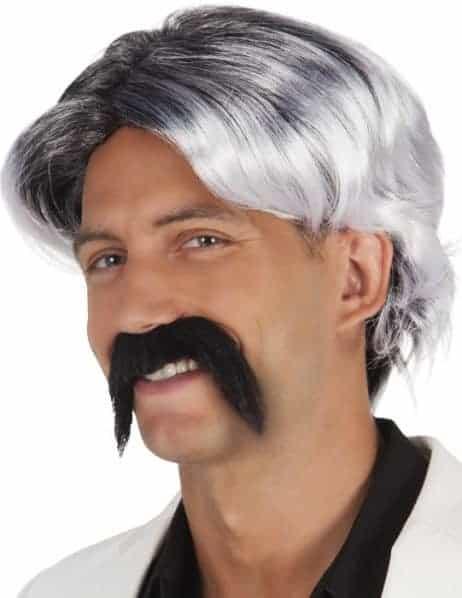 Perruque Poivre et sel moustache noire