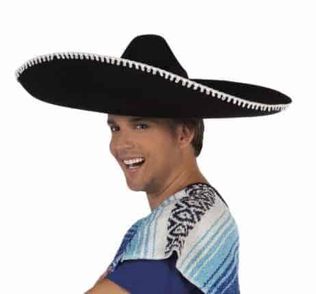 CHAPEAU MEXICAIN LUXE (Sombrero noir - 59 cm)
