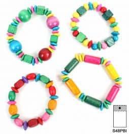 48 bracelets en bois colorés 16 cm