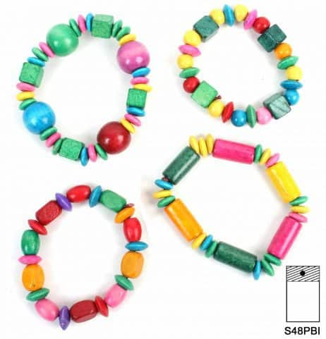BRACELETS EN BOIS (Assortiment multicolore)