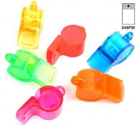 SIFFLET EN PLASTIQUE (Taille 5.5 cm - 6 coloris)