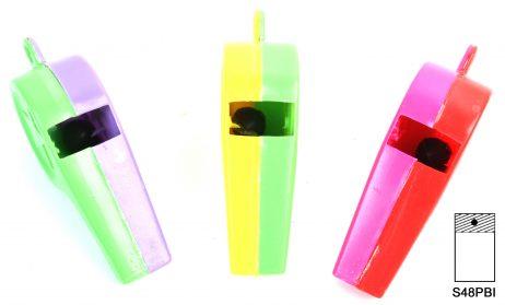 Sifflets bicolores 7 cm en plastique