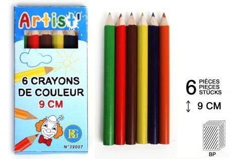 CRAYONS DE COULEURS (Taille 9 cm - 6 coloris)