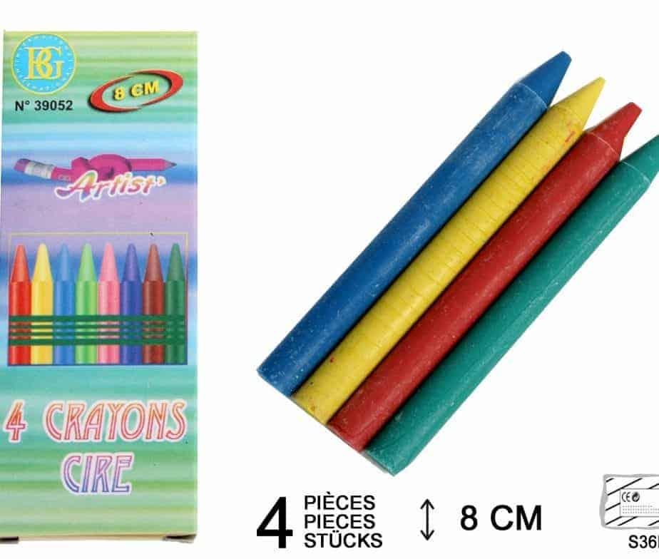 crayons de cire dessin taille 8 cm 4 coloris ced. Black Bedroom Furniture Sets. Home Design Ideas