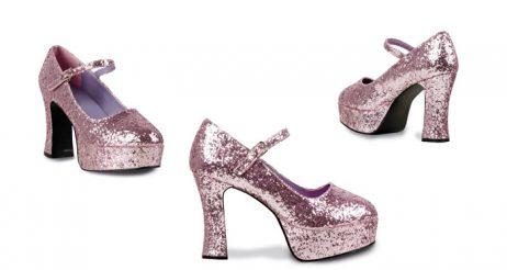 chaussure disco paillette rose