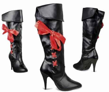 Bottes noires sexy avec ruban rouge