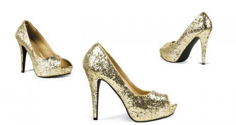 Chaussures disco paillettes femme gold