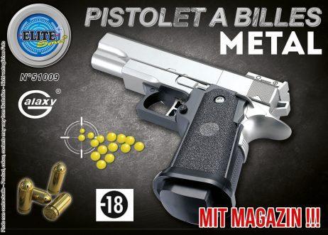 PISTOLET A BILLES MÉTAL (Métal Argent - 15 cm)