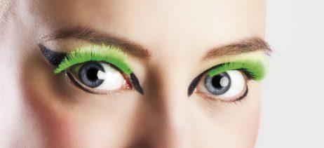 Faux cils de couleur verte