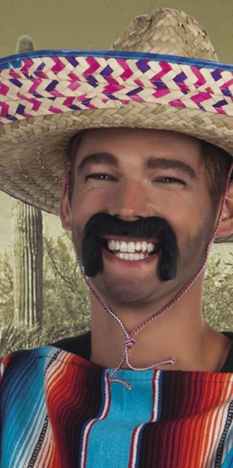 Moustaches noires auto adhésives du bandit mexicain