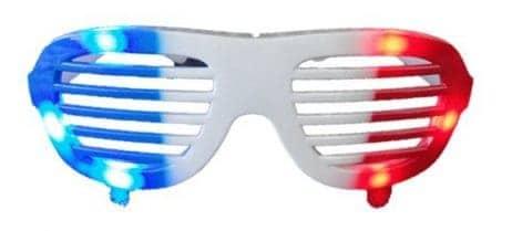 lunettes lumineuses bleu blanc rouge